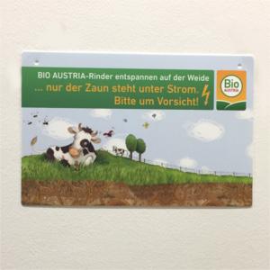 Bild einer Tafel, diese zeigt eine Kuh auf der Weide.
